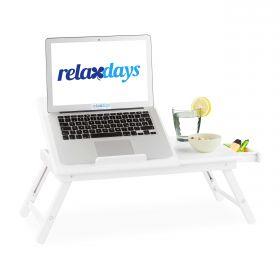 Laptop-Unterlage aus Bambus-Holz - Weiß - Schoßtablett für Notebook oder Frühstück