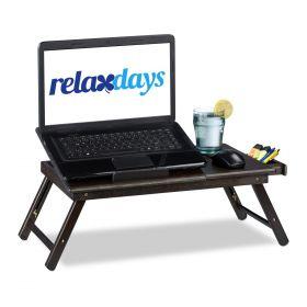 Laptop-Unterlage aus Bambus-Holz - Dunkelbraun - Schoßtablett für Notebook oder Frühstück