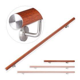 Alu-Treppengeländer - Holz-Optik-Eiche - 100 cm - Inkl. Halter - Versteckte Montage