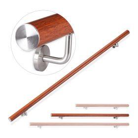 Alu-Treppengeländer - Holz-Optik-Eiche - 150 cm - Inkl. Halter - Versteckte Montage