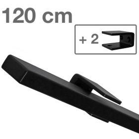 Design-Stahl-Geländer - Rechteckig - Schwarz - 120 cm - 2 Halter