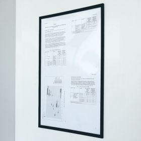 """Magnetischer Dokumentenhalter """"Pro"""" - A4 - Schwarz - Transparent für Whiteboard & Wandmontage"""