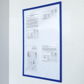 """Magnetischer Dokumentenhalter """"Pro"""" - A4 - Blau - Transparent für Whiteboard & Wandmontage"""