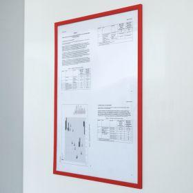 """Magnetischer Dokumentenhalter """"Pro"""" - A4 - Rot - Transparent für Whiteboard & Wandmontage"""