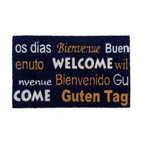 """Kokos-Fußmatte - """"Welcome / Bienvenue / Bienvenido / Guten Tag"""" - 40 x 60 cm - Rutschfest, staubfrei & effektiver Schmutzabrieb"""