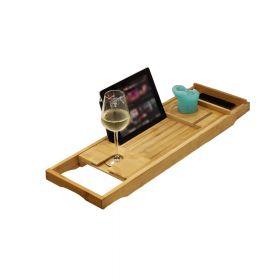 Badewannenablage aus Bambus-Holz - Ausziehbar mit Glashalter, Tablet-Halter & Handyfach