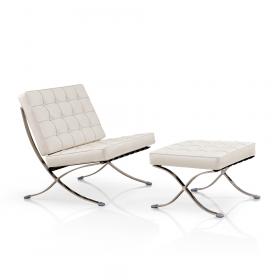 Barcelona Sessel + Ottoman Hocker (Set) - Weiß