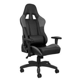 """Ergonomischer Gaming-Chair """"Deluxe"""" - Schwarz/Grau - Komplett einstellbar & rückenfreundlich"""