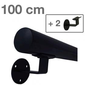 Handlauf Schwarz - modern - 100 cm + 2 Halterungen