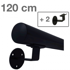 Handlauf Schwarz - modern - 120 cm + 2 Halterungen