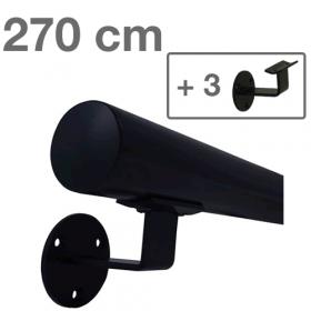 Handlauf Schwarz - modern - 270 cm + 3 Halterungen