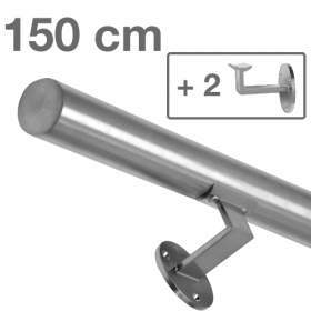 """Edelstahl-Treppengeländer - """"gebürstet"""" - 150 cm + 2 Halterungen"""