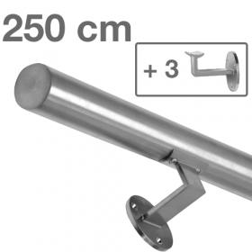 """Edelstahl-Treppengeländer - """"gebürstet"""" - 250 cm + 3 Halterungen"""