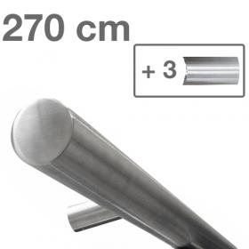 Design-Edelstahl-Geländer - Matt-Gebürstet - 270 cm - 3 Halter