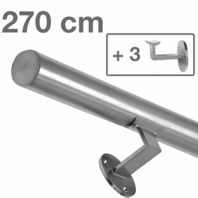 """Edelstahl-Treppengeländer - """"gebürstet"""" - 270 cm + 3 Halterungen"""