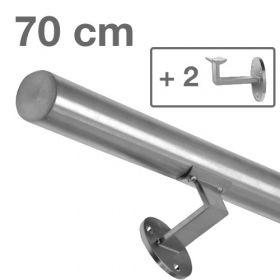 """Edelstahl-Treppengeländer - """"gebürstet"""" - 70 cm + 2 Halterungen"""