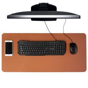 Schreibtischunterlage / Schreibtischmatte - 40x85 cm - PU-Leder - Cognac