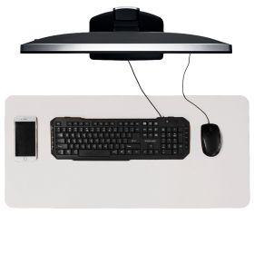 Schreibtischunterlage / Schreibtischmatte - 40x85 cm - PU-Leder - Weiss