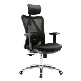 """Bürostuhl """"Proline"""" - ergonomisch - mit Kopfstütze und Mesheinsatz - Schwarz"""