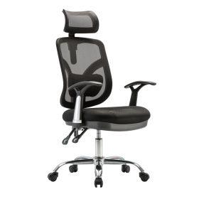 """Bürostuhl """"Comfortline"""" - ergonomisch - mit Kopfstütze und Mesheinsatz - Schwarz"""