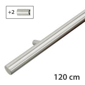 Design-Edelstahl-Geländer - Matt-Gebürstet - 120 cm - 2 Halter