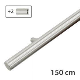Design-Edelstahl-Geländer - Matt-Gebürstet - 150 cm - 2 Halter