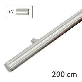Design-Edelstahl-Geländer - Matt-Gebürstet - 200 cm - 2 Halter