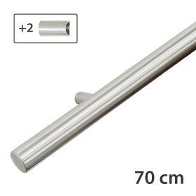 Design-Edelstahl-Geländer - Matt-Gebürstet - 70 cm - 2 Halter
