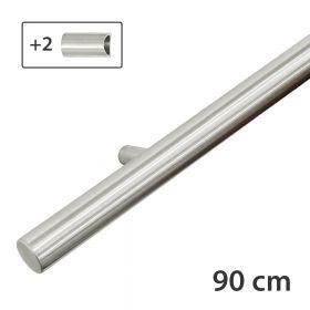 Design-Edelstahl-Geländer - Matt-Gebürstet - 90 cm - 2 Halter