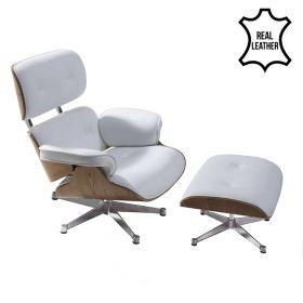 Eames Lounge Chair - Sessel mit Hocker - Weisses Leder mit Eschenholz