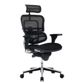 COMFORT Bürostuhl Ergohuman Classic - mit Kopfstütze - Stoffbezug - Schwarz