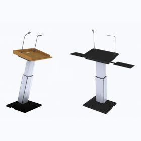 Design-Stehpult - Elektrisch höhenverstellbar - Rednerpult auf Rollen mit Top-Ausstattung