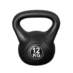 Fitness-Gewicht - 12kg - Schwarz - Kunststoff-Training-Glockengewicht für Hantel-Außenbereich