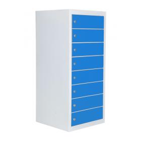Safelock 8 - Blau - Tabletschrank mit Ladefunktion für 8 Laptops, Smartphones und Tablets
