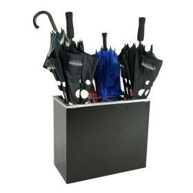 Edelstahl-Schirmständer - 8 Schirme - Schwarz - Extra groß inkl. herausnehmbarer Auffangschale