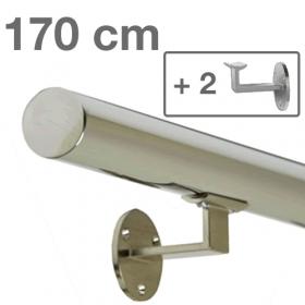 """Edelstahl-Treppengeländer - """"poliert"""" - 170 cm + 2 Halterungen"""