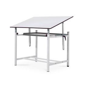 Professioneller Zeichentisch - 100 x 150 cm - Ergonomisch in Höhe/Winkel einstellbar - Große Ablage