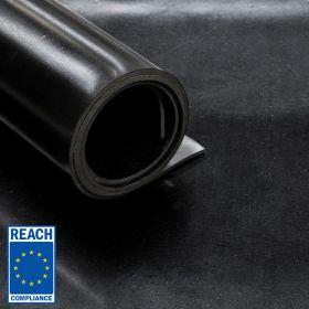 SBR-Gummimatten – Black Miami – 3 mm – Rollenware – 120 x 1000 cm - 1 Gewebe-Einlage - REACH-konform