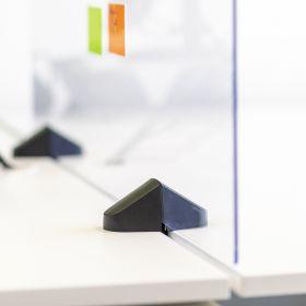 Schreibtisch-Trennwand - Acrylglas-Schutzwand - 58x75cm - Doppeltisch - Klemmbar & koppelbar