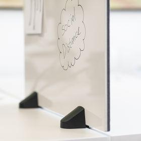 """Schreibtisch-Trennwand - 58x120cm - Pinnwand/Whiteboard """"2 in 1"""" - antibakteriell - Doppeltisch - Zum Klemmen"""