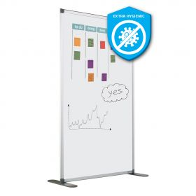 Whiteboard-Trennwand aus hygienischer Emaille - antibakterielle Oberfläche - 180x120 cm