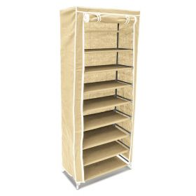 Schuhschrank - Beige - Stoff/Metall - 9 Böden - 36 Paar - Groß, luftig & staubgeschützt