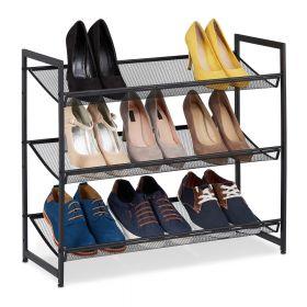 Schuhregal - Schwarz Metall - 9 Paar Schuhe - 3 Etagen
