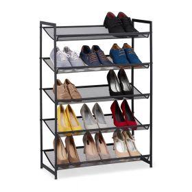 Schuhregal - Schwarz Metall - 15 Paar Schuhe - 5 Etagen