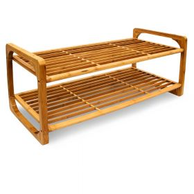 Schuhregal - Bambus-Holz - Stapelbar - 75 x 33 x 33 cm - Zwei Ablagen mit Tragegriffen