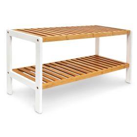 Schuhregal - Bambus-Holz - Braun/Weiß - 25 cm schmal - Zwei Ablagen und als Kinderbank nutzbar
