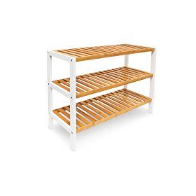 Schuhregal - Bambus-Holz - Braun/Weiß - 25 cm schmal - Drei Ablagen und als Kinderbank nutzbar