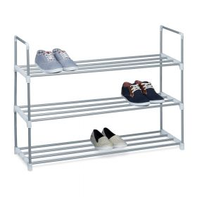 Schuhregal - Metall - Silber - 90 x 70 x 31 cm - Drei Ablagen, pflegeleicht und viel Platz