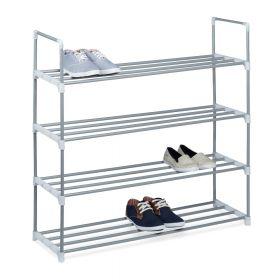 Schuhregal - Metall - Silber - 90 x 93 x 31 cm - Vier Ablagen, extra groß und pflegeleicht