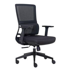 Büro-Drehstuhl Turin - Schwarz - Ergonomisch arbeiten - Rückenfreundlich mit Lordosenstütze
